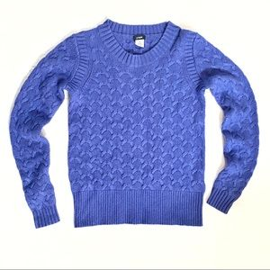 J. Crew blue wool angora honeycomb knit sweater